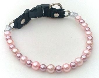 Pink and Lilac Pearl Dog Collar,Cat collar, Buckle Collars, Martingale Collars, Dog Pearls UNBREAKABLE GUARANTEE!