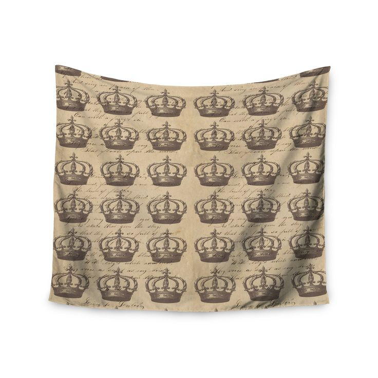 "Suzanne Carter ""Crowns"" Brown Tan Wall Tapestry"