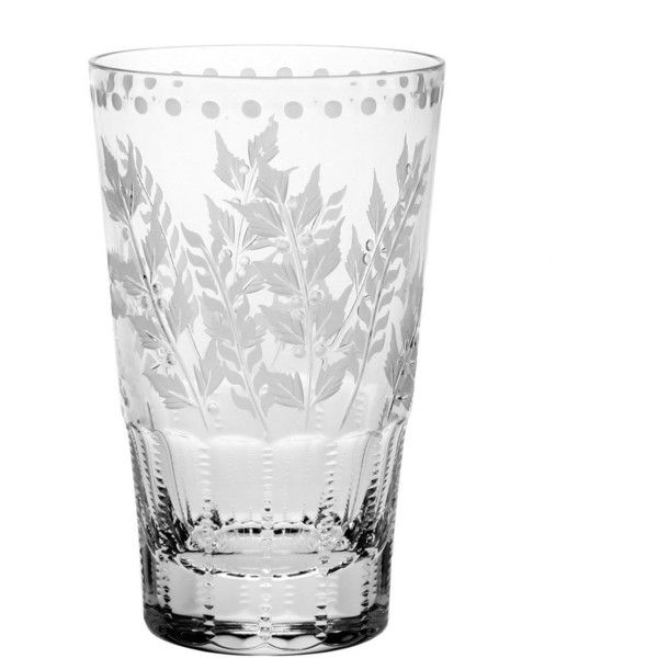 William Yeoward Crystal Fern Highball Tumbler ($215) ❤ liked on Polyvore featuring home, kitchen & dining, drinkware, clear, water tumbler, engraved tumblers and william yeoward