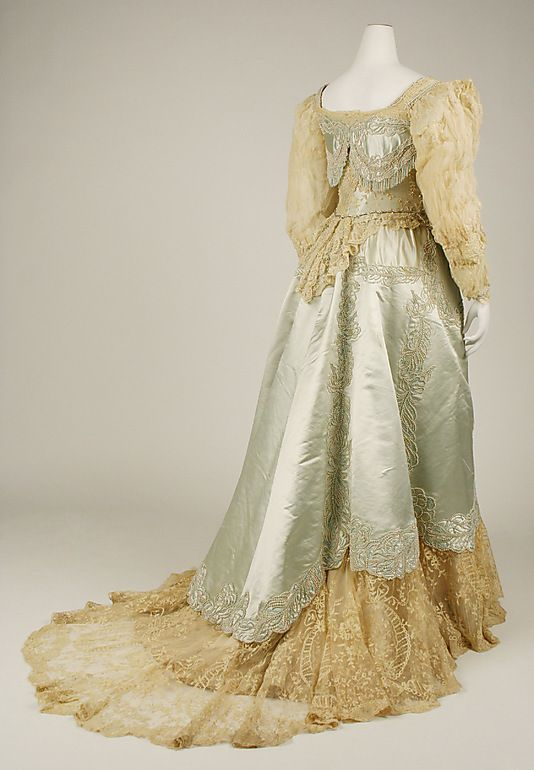 Haute Couture Charles Frederick Worth evening dress gown circa from French 1890. Worth is mentioned as Helene de Montfort's favourite designer in 'Rutherford Park'