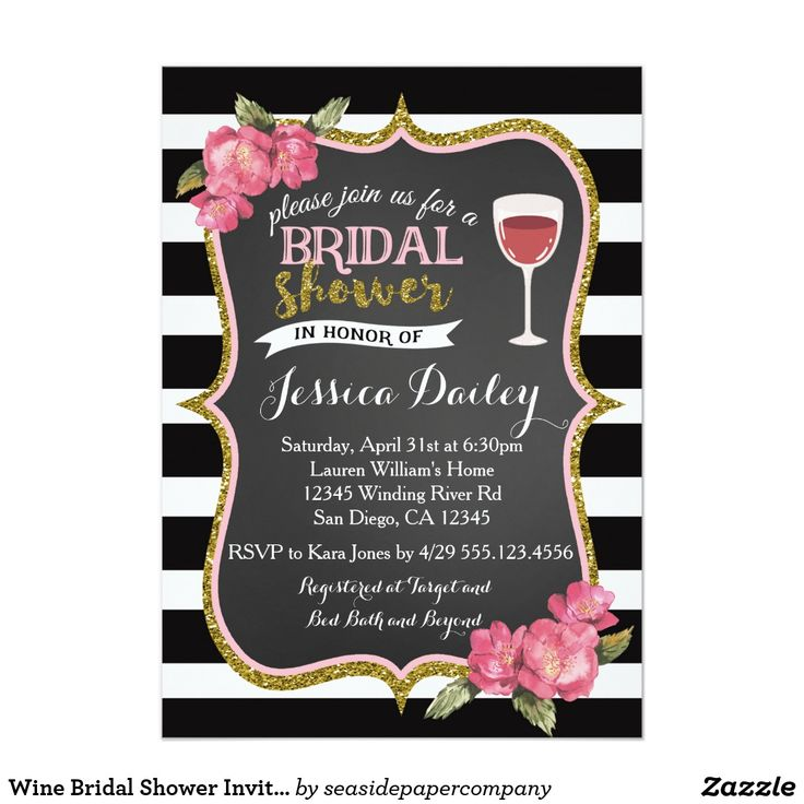 pink black and white bridal shower invitations%0A Wine Bridal Shower Invitation