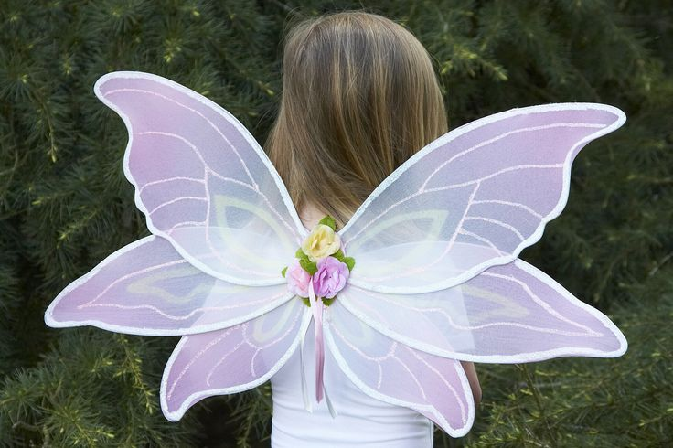 Pink Sorbet Wings ~  These beautiful fairy wings are the ultimate fairy chic!  These gorgeous pink and cream wings feature glitter detailing and a pretty corsage of pastel coloured roses with satin ribbon.  The wing span is 75cm by 40cm high.  The wings have elastic shoulder straps for easy wear.  Age 3+ £20.00