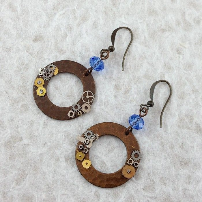 Steampunk Disk Earrings with Blue Crystals