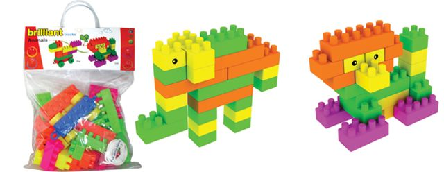 Create 6 different animals with the brightly coloured toy blocks of Brilliant Blocks Animals Carry Bag for Kids by Buddyz.