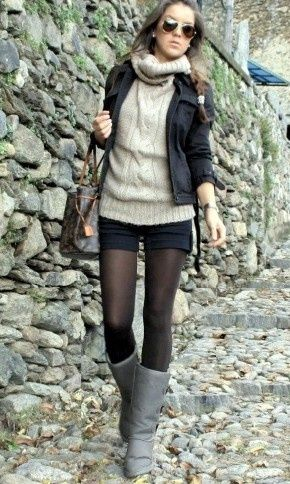 Ordinary Day.Black Shorts, Fashion, Fall Style, Fall Winte, Fall Looks, Fall Outfit, Cozy Sweaters, Black Tights, Boots
