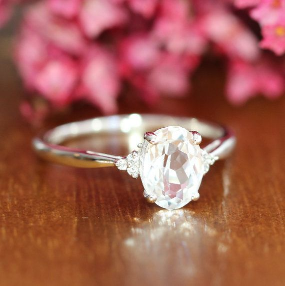 Gold Solitaire White Sapphire Engagement Ring 3 Stone Gemstone Wedding Band 10k White Gold Anniversary Ring, Size 7 (Resizable)