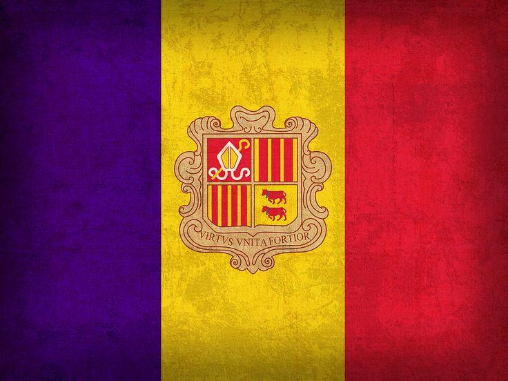 Andorra Flag Vintage Distressed Finish Mixed Media