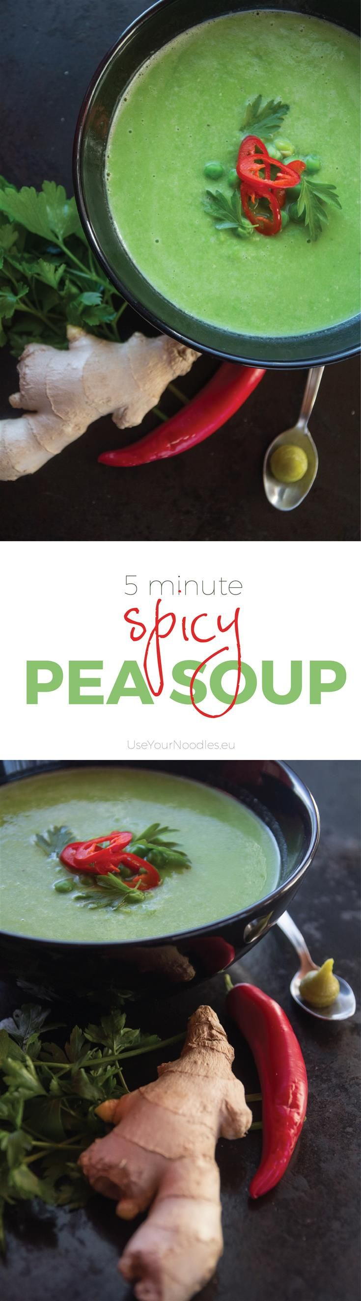 Spicy Pea Soup. Recipe for delicious pea soup with ginger, wasabi and chilli.
