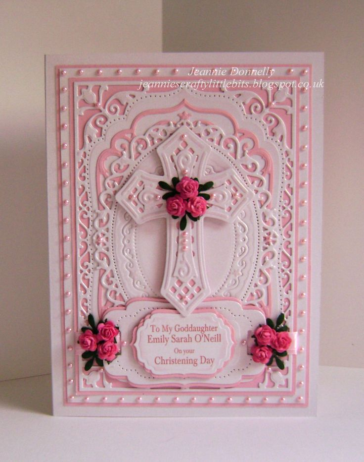 Another Christening Card using Spellbinders Elegant Labels Four and Labels Four, updated version this time in Pink with Spellbinders Floral Ovals and Crosses Two. Cute little Pink Roses from Wild Orchid Crafts and loads of little Pink Pearls - Little Green leaves are a EK Success Punch.