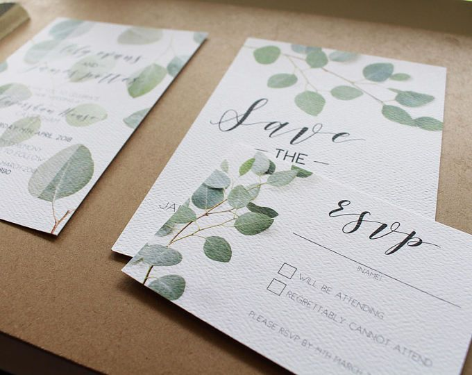 Wedding Invitation Package - Save the Date, RSVP card, Eucalypt Fresh Clean, simple and sleek invitation printed A6 package SAMPLE PACK