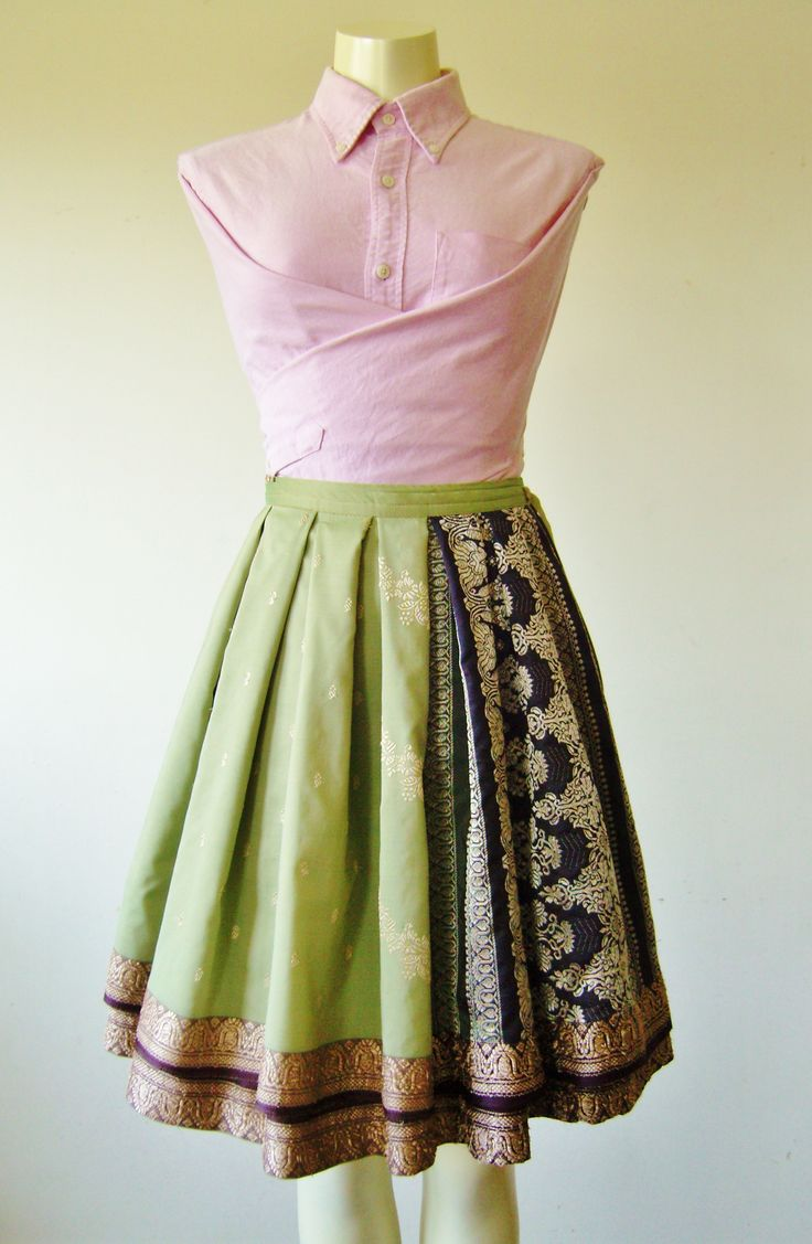 Mint/Violet Wrap Skirt made from a full sari
