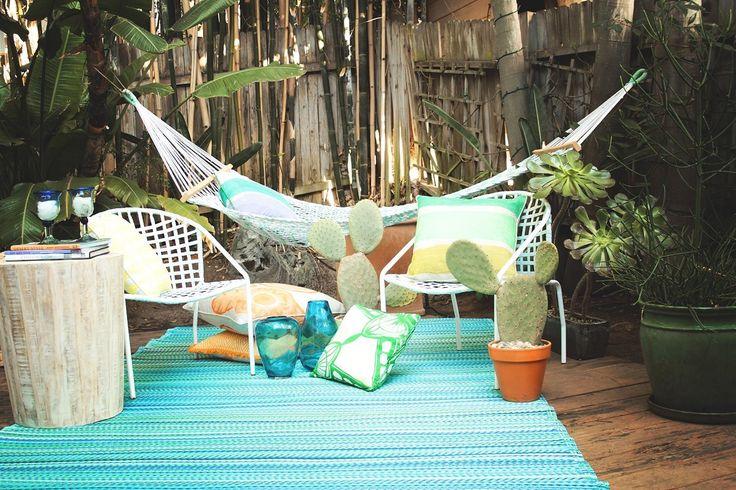binnen & buiten vloerkleed tropical turquoise - meerdere maten