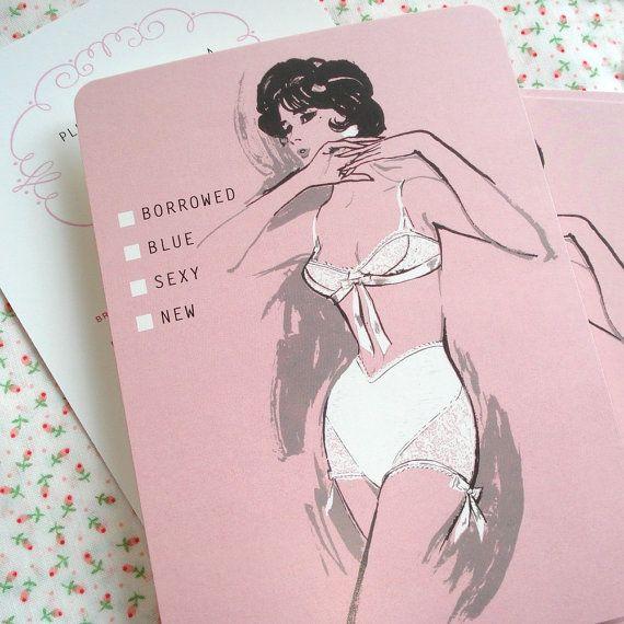 lingerie shower invite. old-timey love.