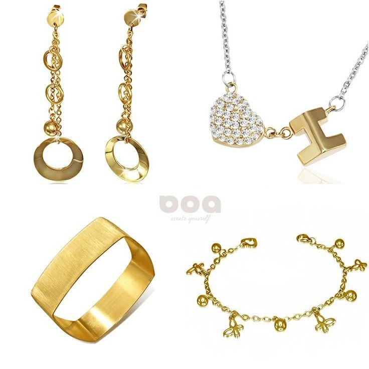 w kolorze złota - biżuteria ze stali szlachetnej
