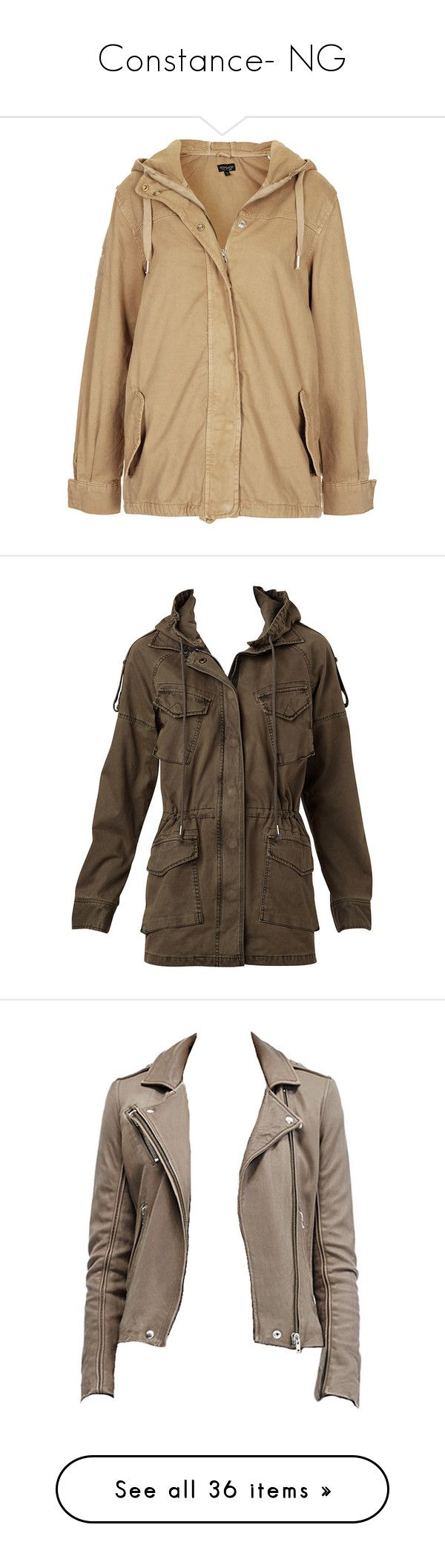 """""""Constance- NG"""" by inestrindade on Polyvore featuring outerwear, jackets, coats, coats & jackets, sand, topshop parka, parka jacket, brown cotton jacket, short-sleeve jackets and brown parka jacket"""