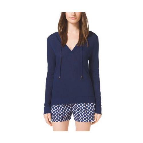 Cheap MK Outlet Online & MICHAEL MICHAEL KORS Mesh Cotton-Blend Hoodie PRUSSIAN BLUE