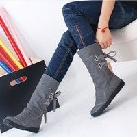Wish | Elegant New Fashion Women Autumn Winter Boots Mid-Calf Solid Flat With PU Boots Warm Fur Inside Ladies Shoes Big Size 34-43
