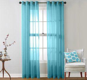 Hlc Me 2 Piece Sheer Curtain Grommet Panels Aqua Blue Teal Master Bedroom