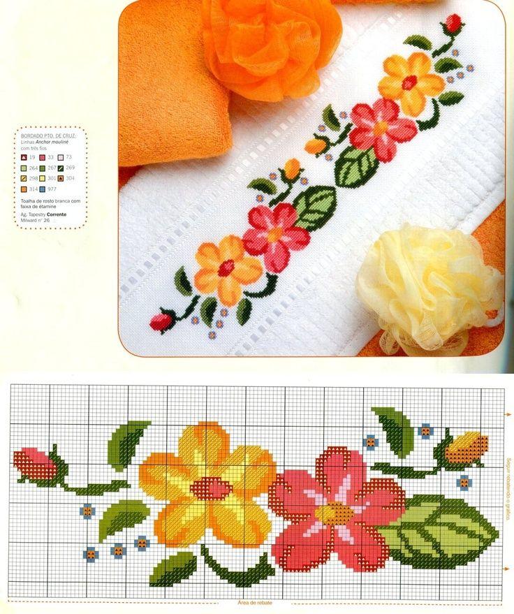 floral / border / towel / orange / yellow / red: