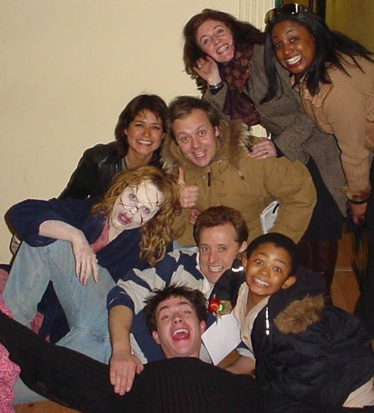 Taken outside the makeup rooms at the end of the filming of Exorcist, the Beginning.  That's James D'Arcy on the floor, Remy Sweeny to his left and Izabella Scorupco in her scary makeup.  (many thanks, Gary Tunnicliffe!) -- which would place it around Feb. 22, 2004 when Exorcist wrapped.