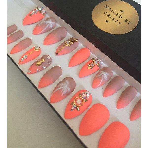 25 trending press on nails ideas on pinterest fake nails white nude to neon summer design decorated with real swarovski crystals gold accents stiletto shaped press on nails set includes 20 nails size 0 to prinsesfo Image collections
