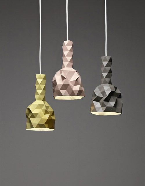 Faceture vases and lightshades by designer Phil Cuttance