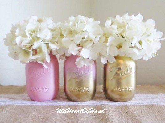 Baby Shower Mason Jar Set, Ombre Mason Jars, Baby Pink And Gold, Painted
