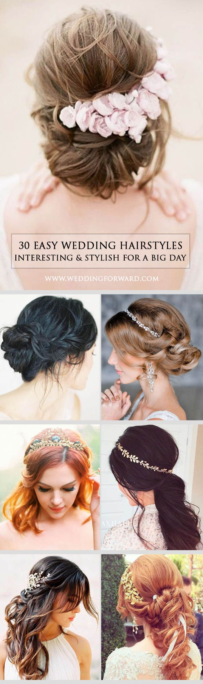 30 Stylish Easy Wedding Hairstyles ❤ You can choose stylish easy wedding hairstyles from our sharing pictures depending upon type of hair texture, length and face cut. See more: http://www.weddingforward.com/easy-wedding-hairstyles/ #weddings #hairstyles