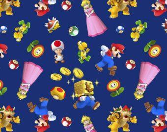 Mario Character toss sur le tissu de coton bleu par ressorts créatifs