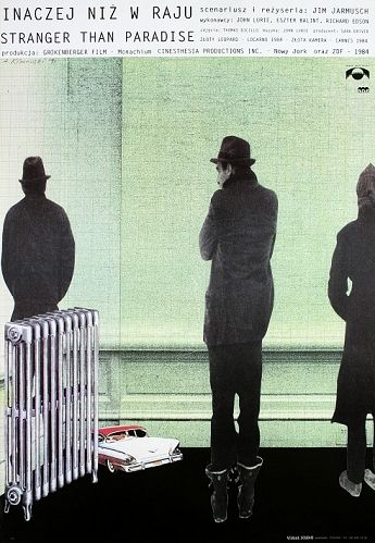 Stranger Than Paradise Inaczej niz w raju Original Polish movie poster film, USA director: Jim Jarmusch actors:  John Lurie, Eszter Balint, Richard Edson designer: Andrzej Klimowski year: 1991 size: B1