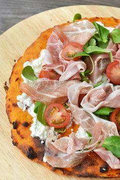 zoete aardappelpizza (voor mij zonder ham)