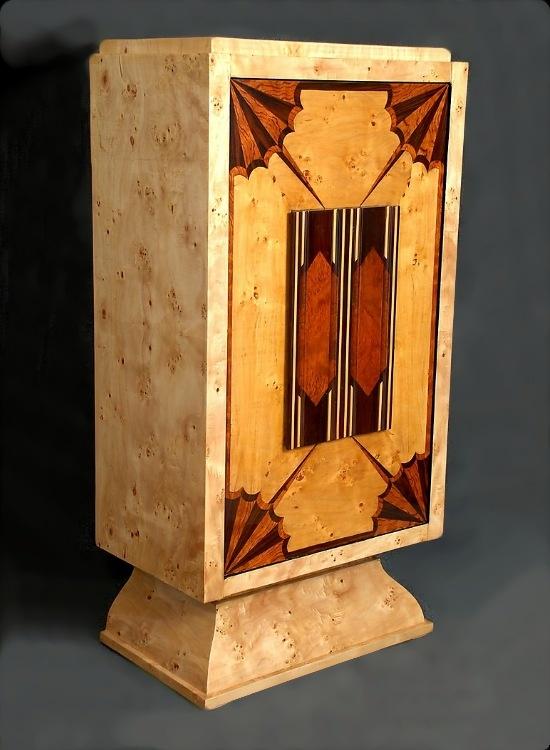 European Art Deco Bar Cabinet with Alaska Finish Burl Elm Veneering & Marquetry.