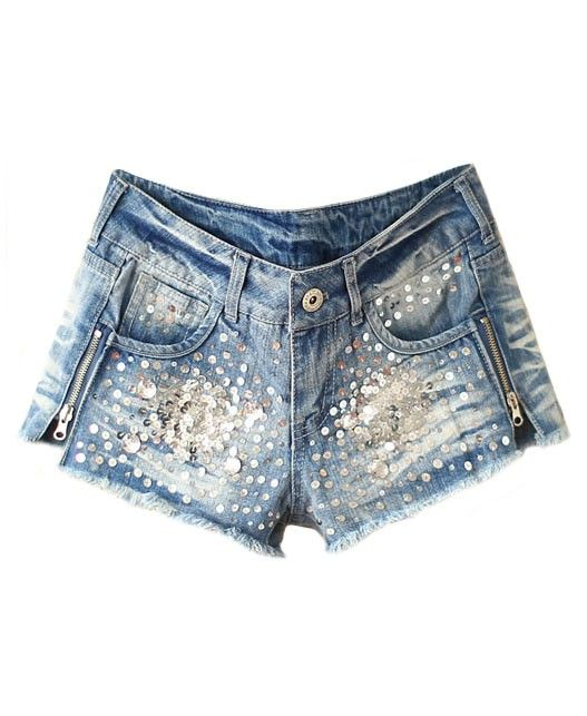 Sequin and Diamante Embellished Denim Shorts