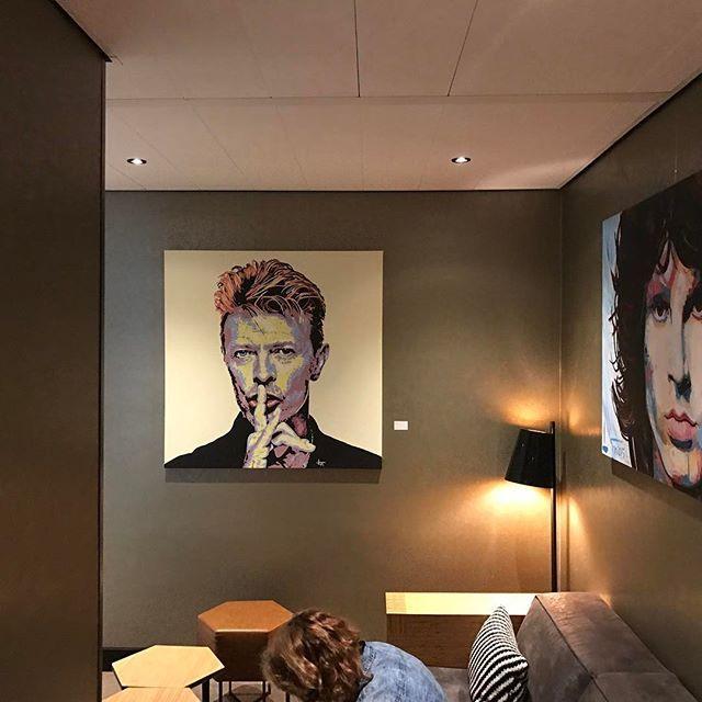 Repost @tonpeelenart: Jim Morrison & David Bowie Hotel Mercure Sloterdijk Hotel, Amsterdam. #davidbowie #jimmorrison #art #painting #popart