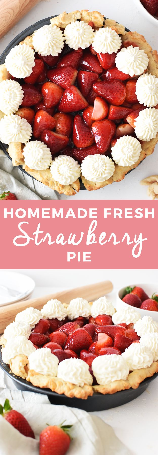 Looking for a go-to pie recipe? Make this simple and fresh strawberry pie! It is delicious and the perfect dessert for any occasion. Pie fives all around!