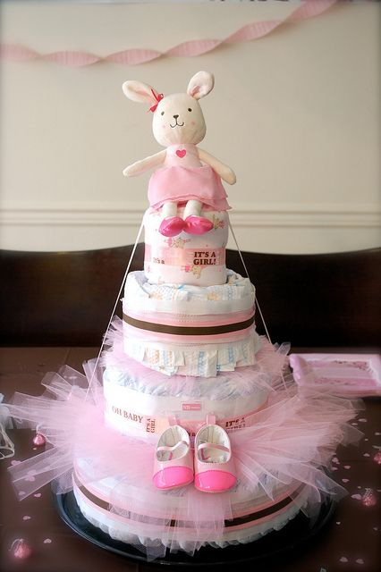 What A Cute Bunny Diaper Cake Goes Perfect With Bunny S