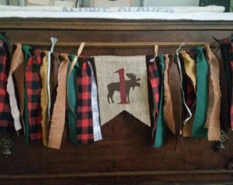 Camping Theme Banner, Cabin Theme, Hunting Birthday, Moose Birthday, Woodland Birthday, Outdoors Party Decor, Fishing Birthday Party