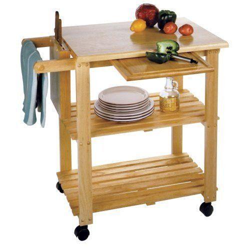 Rolling Stand Kitchen Wood Utility Cart Butcher Block Portable Solid Beech Wood #RollingStandKitchenWoodUtilityCart