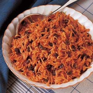 Carrot Raisin Salad -This traditional salad is fun to eat because of its crunchy texture and the slightly sweet raisin flavor.