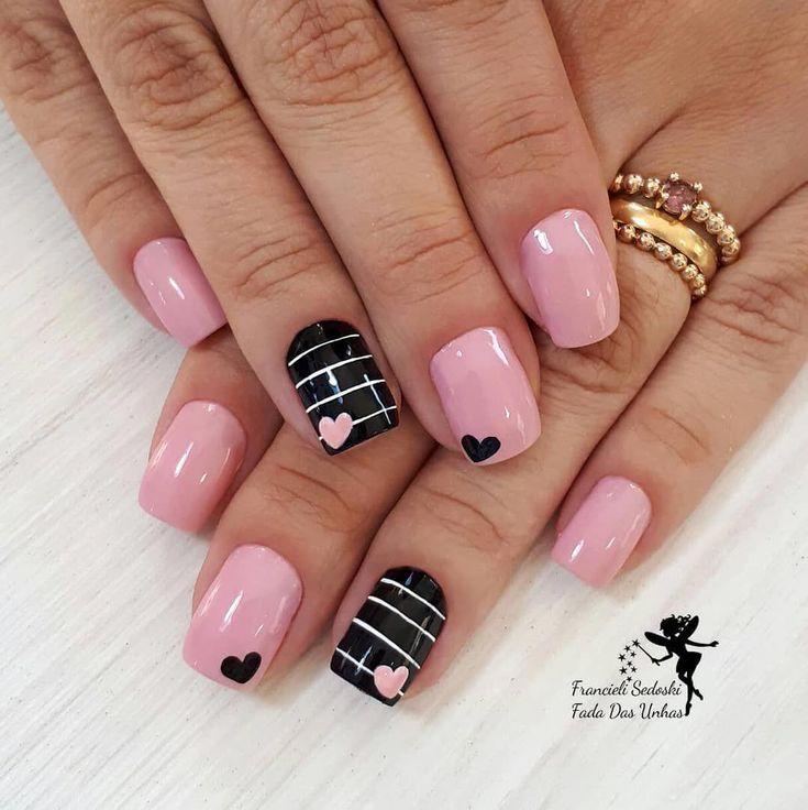 Black, light pink and gold | Gold nails, Nails, Gold nail art