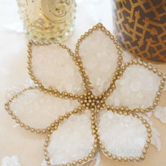 Sofreh Aghd Nabat | Flower Rock Candy Flowers by prettypleasedesign, $15.00.  Nabat {rock candy} is prettified to symbolize a sweetened life for the newlyweds + is one of the many items placed on a Persian ceremony spread {sofreh aghd}.This prettified floral nabat {rock candy} flower is available on my Etsy store. Each stem + center is prettified with matte gold pearls. Perfect for the bride who likes modern + classic designs or likes to mix both together.