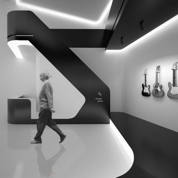 Guitar shop by Amirko, via Behance