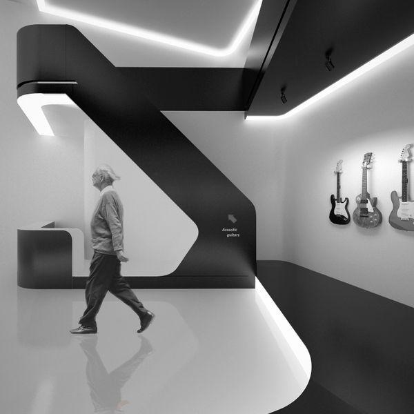 Guitar shop by Amirko, via Behance