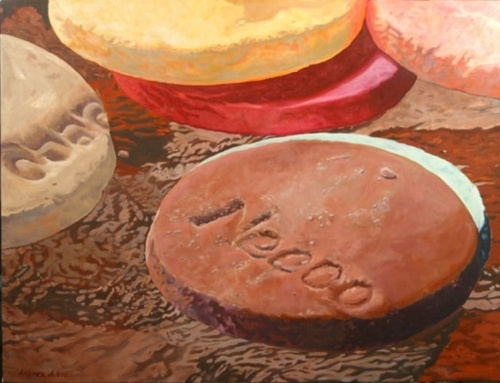 painting of Necco wafers by Andrea Alvin
