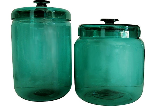 Teal Blown-Glass Jars, Set of 2: Vintage Marketing, Blown Glasses Jars, Blownglass Jars, Vintage Wardrobe, Sets, Products, Teal Blown Glasses