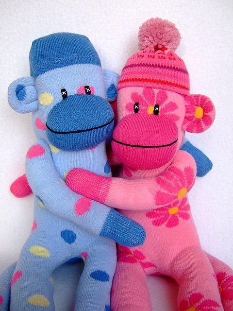 sock monkeys in love