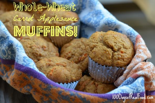 Recipe: Whole-Wheat Carrot Applesauce Muffins We actually did make these already but the kids LOVED them so much that I always want to make more, so I'm putting it on this board.