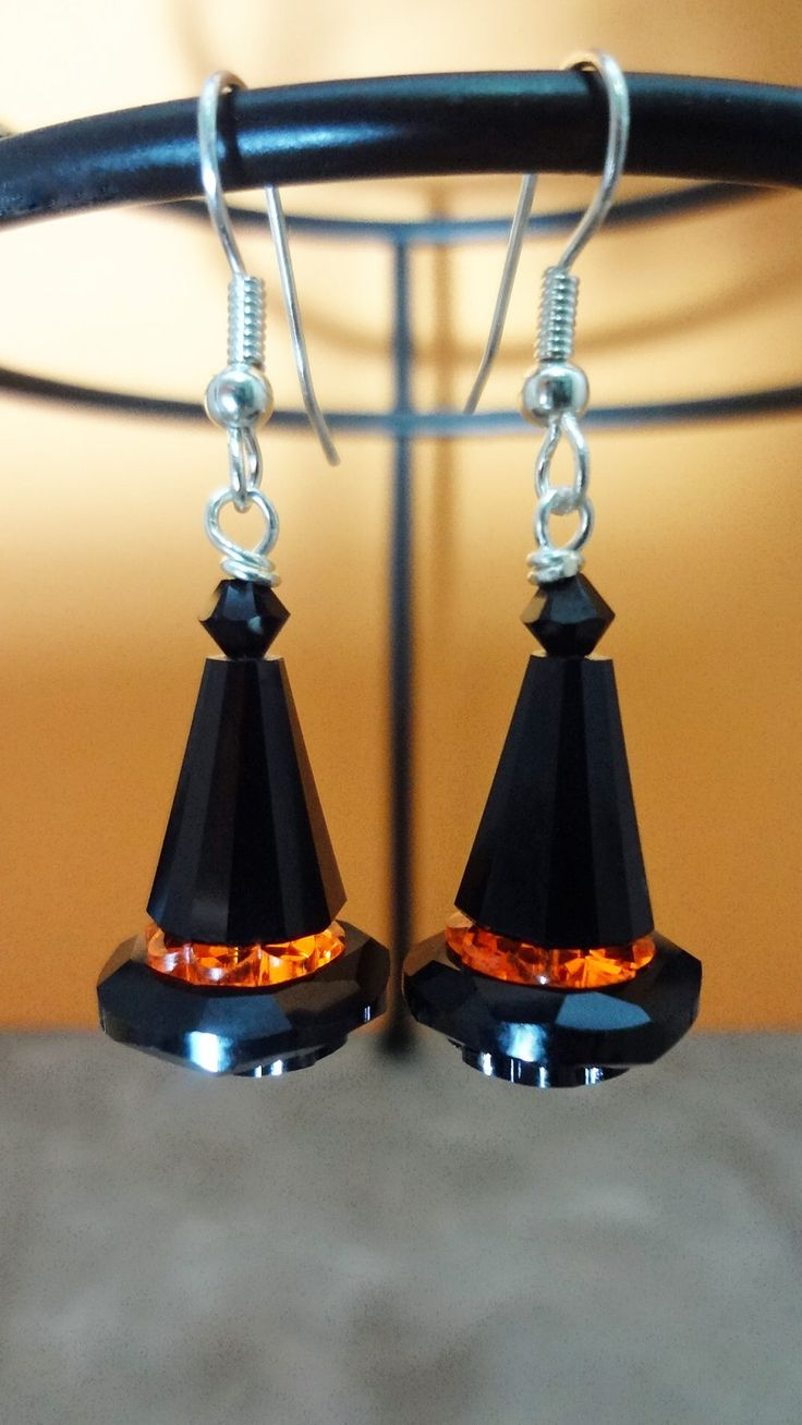 Witch Hat Halloween Crystal Earrings by TheBeadShack on Etsy
