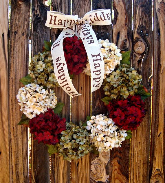 Items Similar To Christmas Wreath   Red Hydrangea Wreath   Wreath   Christmas  Decor   Holiday Decor   Door Wreath   On Etsy
