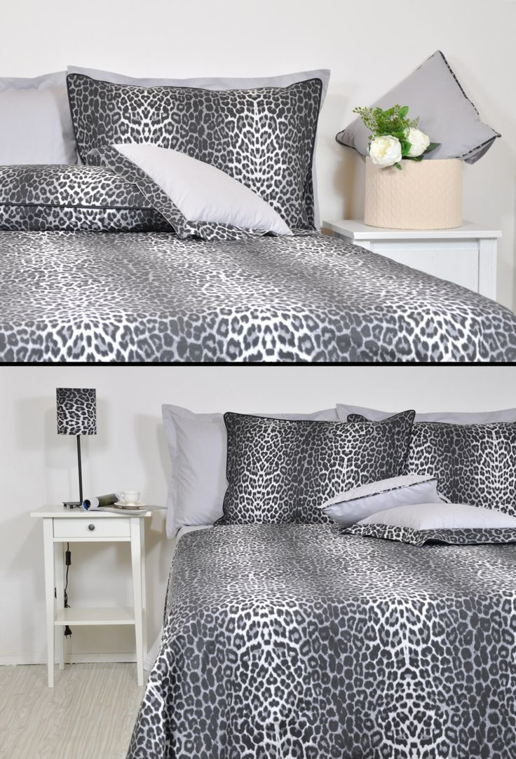 Leopard Duvet Cover Set in Full Queen King Size - Black Smoke Grey Leopard Print Cotton Fabric Leopard Bedding Set